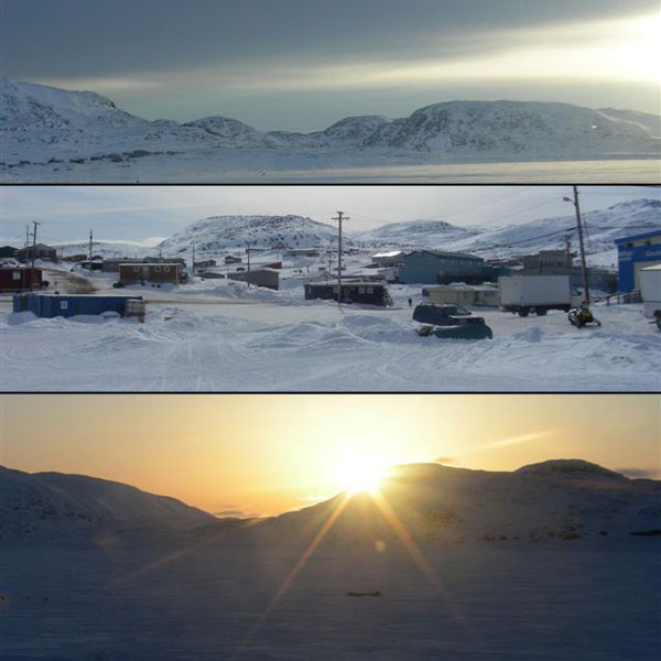Top - Cape Dorset & Inlet; Middle - Cape Dorset community; Bottom - Cape Dorset Sunset