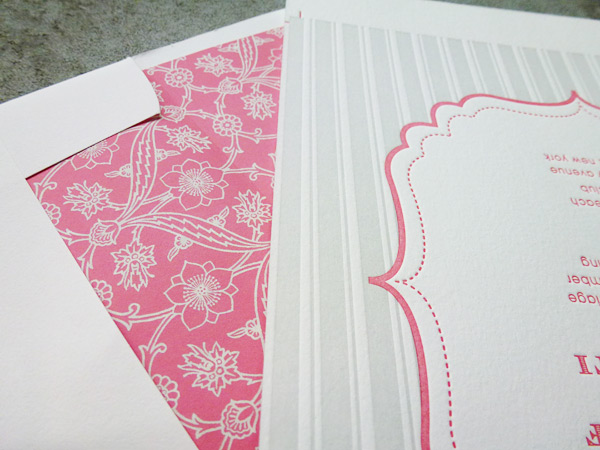 We love the letterpress colors in Bella Figura's Simple Lace letterpress wedding invitation design.