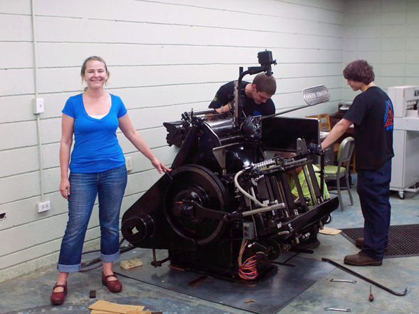 Sarah Almond of Shed Letterpress with one of her presses
