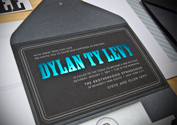 Bar Mitzvah invitations by Spark Letterpress