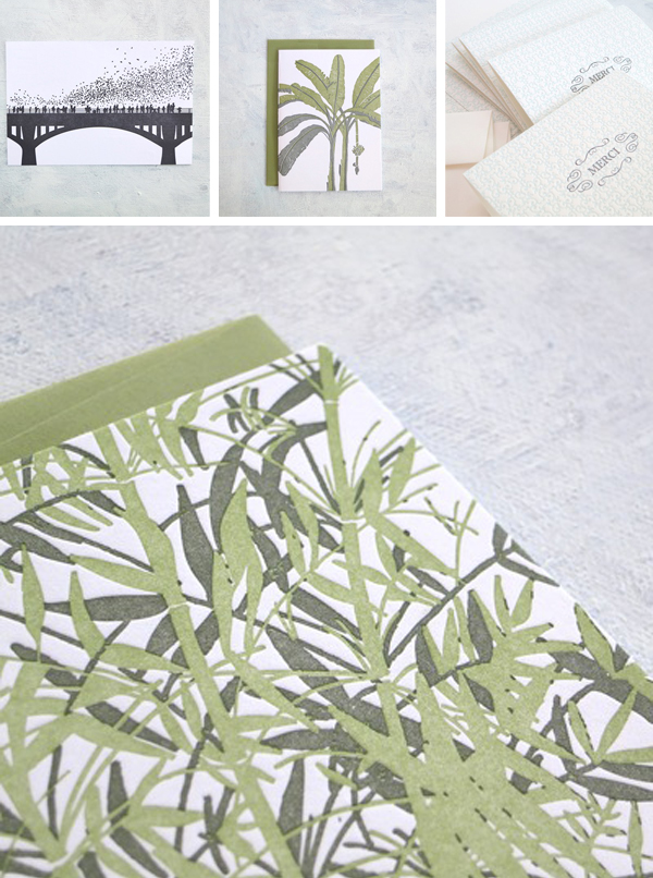 Presse Dufour letterpress cards and stationery featuring plant life and bridges.