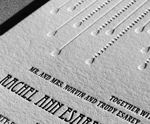 Blind deboss and one color letterpress piece show off letterpress unique appeal.