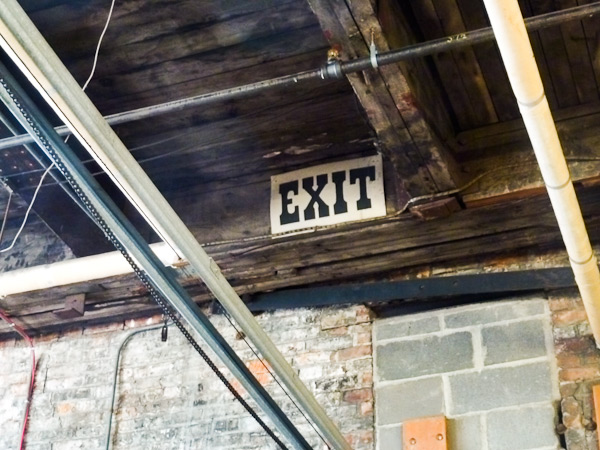 Vintage exit sign in Boxcar Press