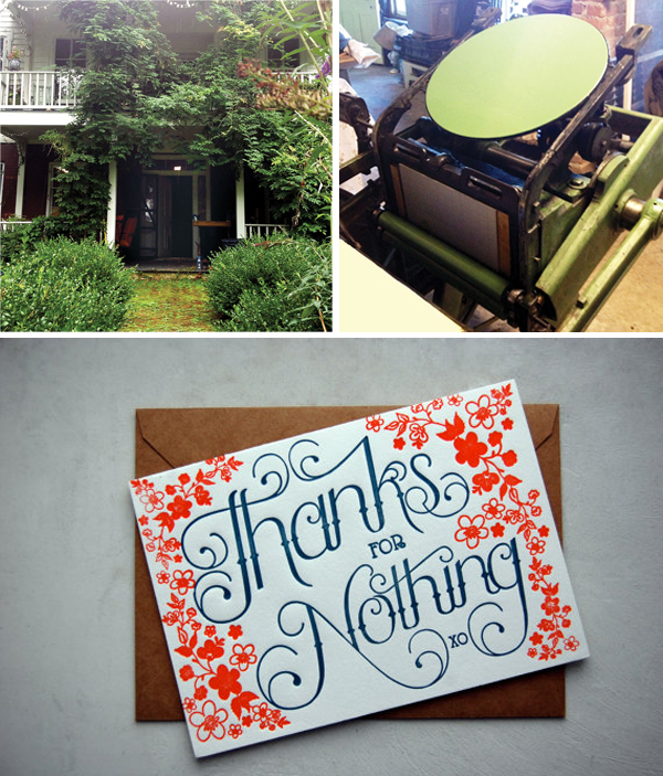 Inking up on Carrie Durand's printing press and beautiful letterpress cards.