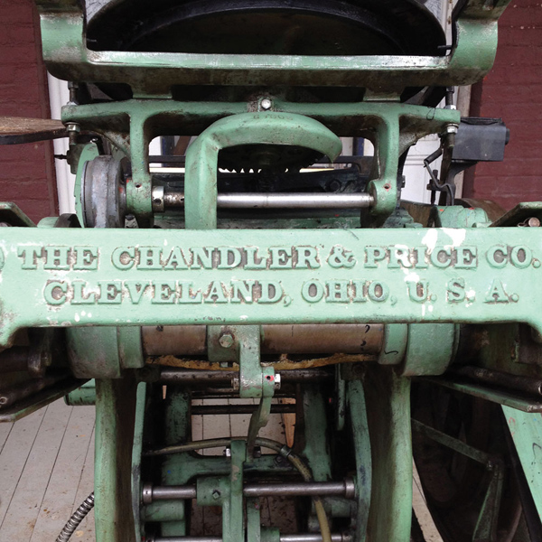 Carrie Durand's well-loved Chandler & Price letterpress printing press.