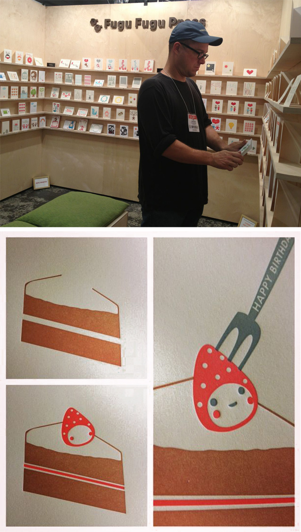 Fugu Fugu Press appears at a stationary show displaying eye-catching cards and printed letterpress goodies.