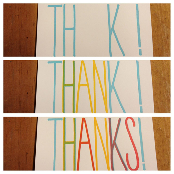 Colorful lettepress thank you cards cheer up any occasion, courtesy of Fugu Fugu Press.