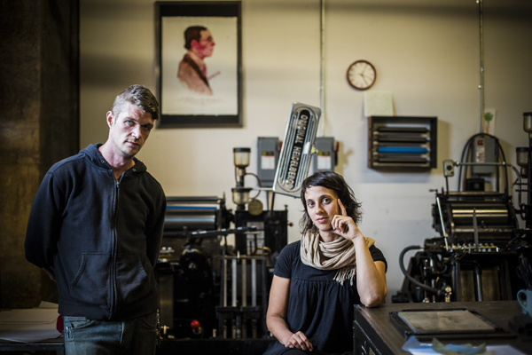 Keegan Wenkman and Katy Meegan of Keeganmeegan and Co. in their letterpress shop.
