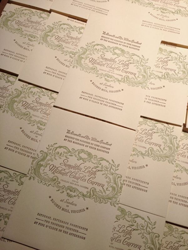 Elegant detail work of invitations printed by Appalachia Press.