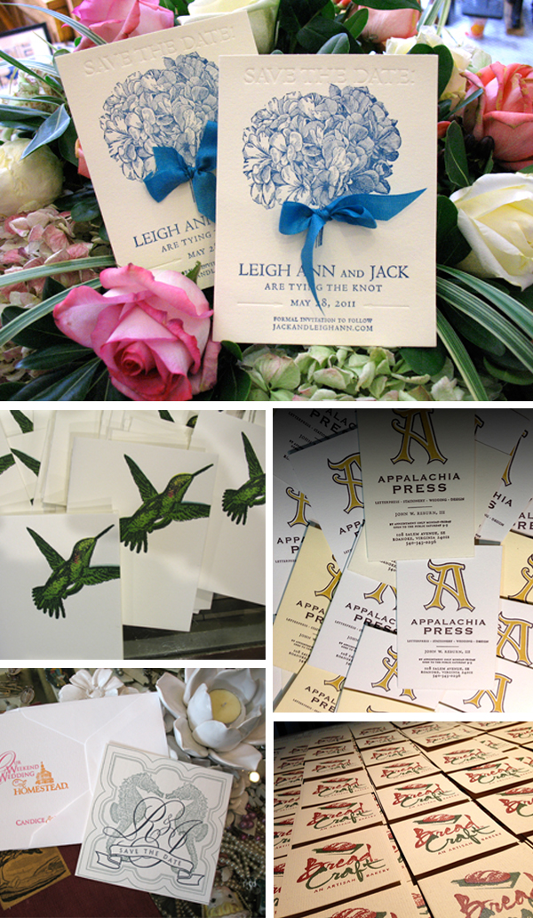 Floral and beautiful letterpress invitations printed by Appalachia Press.