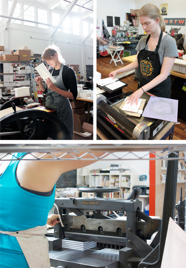 Guillotine cutter, letterpress printing presses featured at Ladyfingers Letterpress.