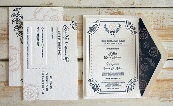 Elegant letterpress invitation suite printed by Little Peach Co.