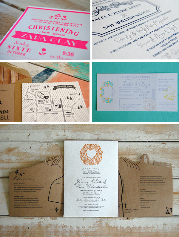 Colorful and fun lettepress printed pieces from Australian printshop Little Peach Co.