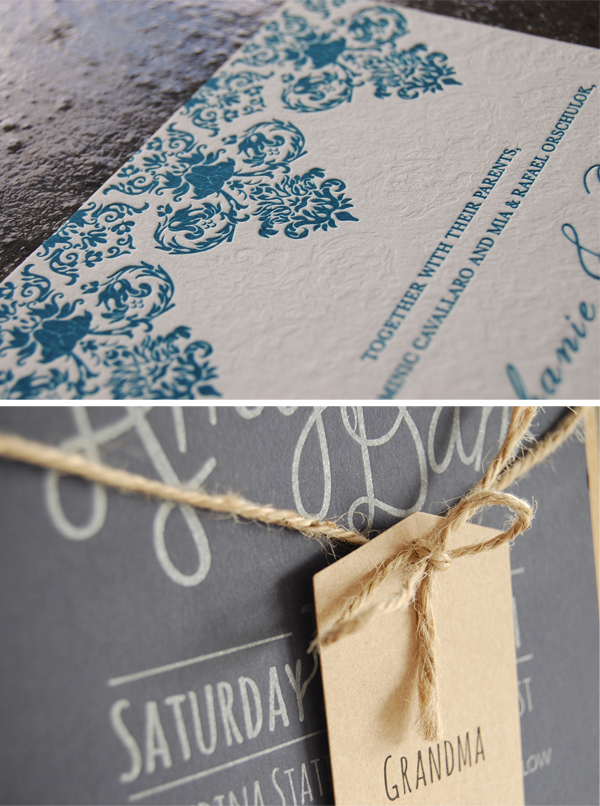 Blue lace letterpress invitation pieces by Little Peach Co.