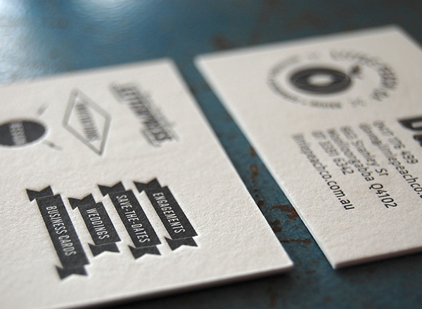 Little Peach Co prints up intricate letterpress business cards.