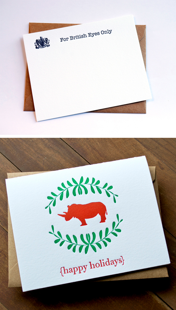 Fine letterpress printed cards by Pheasant Press.