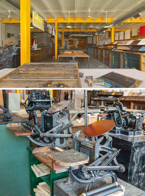 Industrial workspace of Signal Returns, a Michigan-based community printshop.
