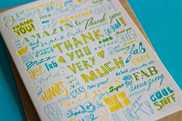 Colorful thank you letterpress cards printed by The Hungry Workshop.