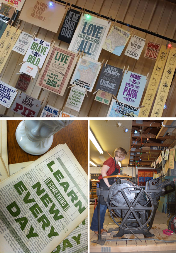 Letterpress broadsides and printing presses of The Red Door Press.