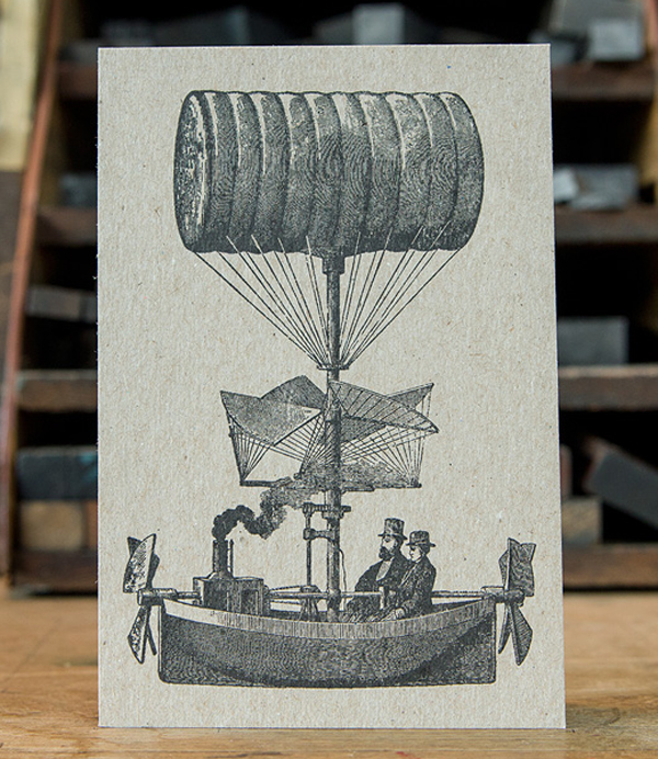 A fine letterpress card of vintage engravings by Archie Archambault of Archie's Press.