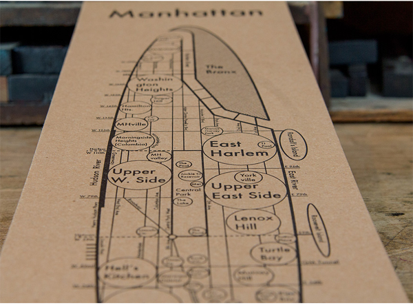 Archie Archambault of Archie's Press prints fine letterpress maps of Manhattan / New York City.