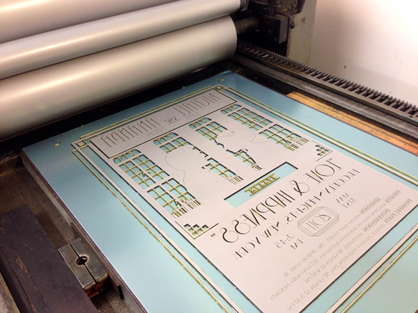 Printing light grey on a Vandercook at Press 65.